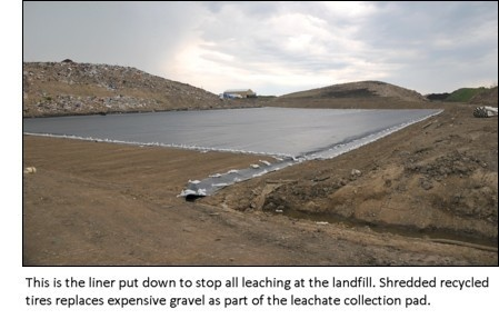 This is the liner put down to stop all leaching. Shredded recycled tires replaces expensive gravel as part of the leachate collection pad.